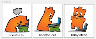 cartoon with three panels: breathe in, breathe out, baby steps