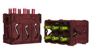 two pictures of the Storvino wine storage system; each component holds six bottles