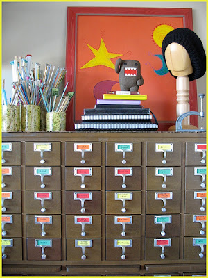 card catalog with colorful labels