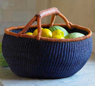 blue basket made from African grasses