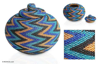beaded rattan basket with thunderbolt design