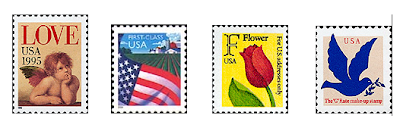 four different U.S. nondenominated stamps