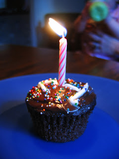 cupcake with one candle