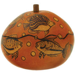 gourd round box with fish design
