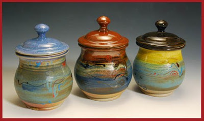 pottery canisters - set