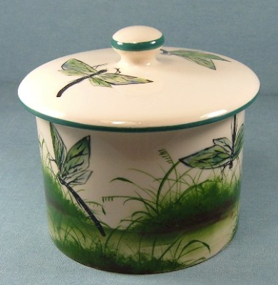 biscuit barrel with dragonfly