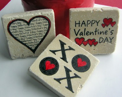 set of three Valentine's Day tile magnets