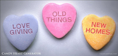 candy hearts: Love giving old things new homes.