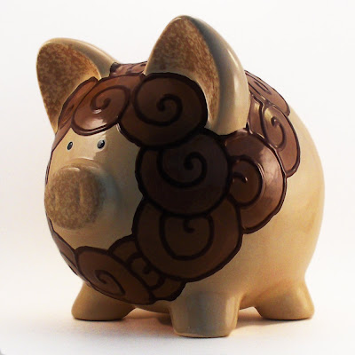lion-painted piggy bank
