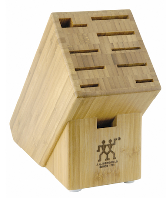 bamboo knife block with horizontal slots
