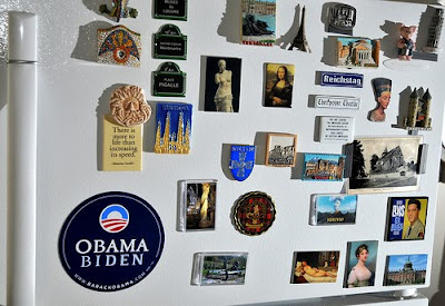 refrigerator with magnet collection