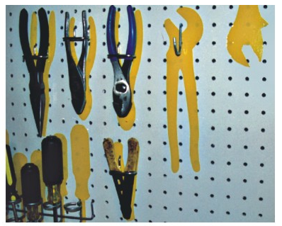 pegboard with tool outlines