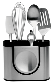 stainless steel utensil holder with spoons, spatula, whisk