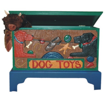 blue toy chest with painting of dogs on the front; says Dog Toys