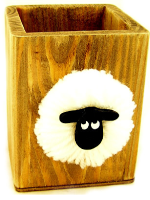 wood pencil cup with picture of sheep's head