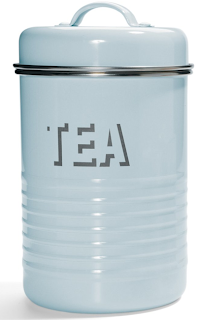 baby blue tea canister; says Tea on the front