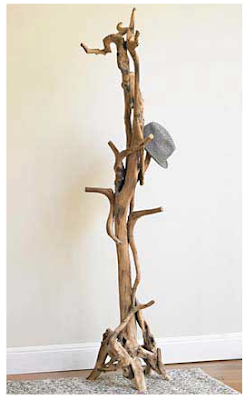 coat stand made from tree roots