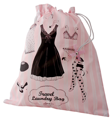 laundry bag, pink and white, with pictures of lady's undergarments