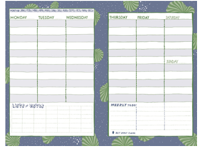 planner pages for a week, spread over 2 pages