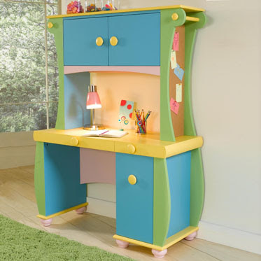 bombe-shaped youth desk with hutch in combination of blue, green, yellow and pink