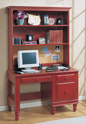red desk with hutch, cottage style