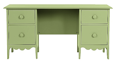 green desk with four drawers