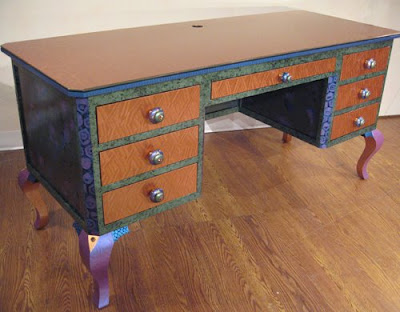 colorful desk with drawers