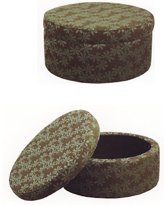 storage ottoman, patterned fabric, open and closed