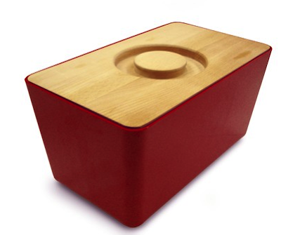 red bread bin wood lid