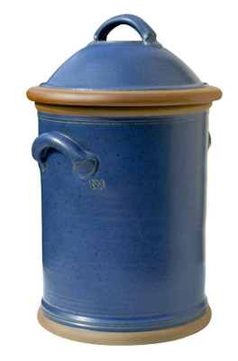 blue pottery bread bin