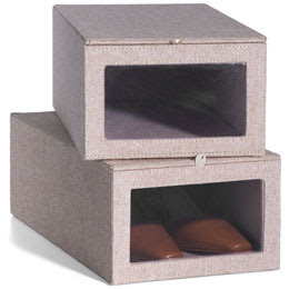 tweed shoe boxes with clear panel to see inside