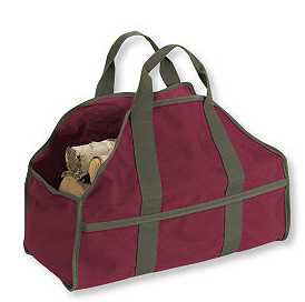 standing log carrier, fabric, burgundy