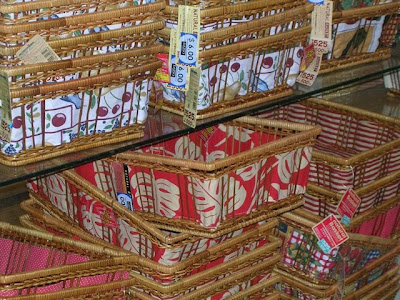 bunches of baskets on shelves