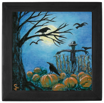 keepsake box with pumpkin patch, scarecrow, crows