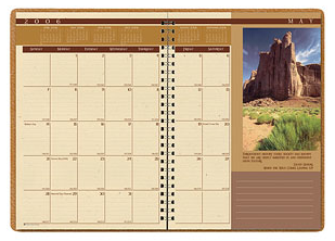 monthly planner with landscape picture