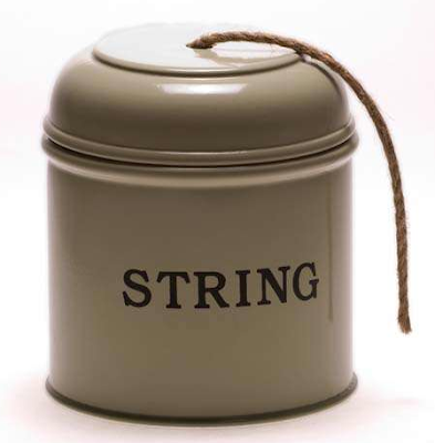 string dispenser, enameled tin, says string on it