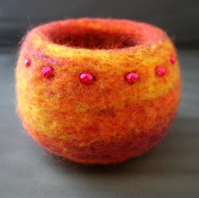 felted bowl, orange