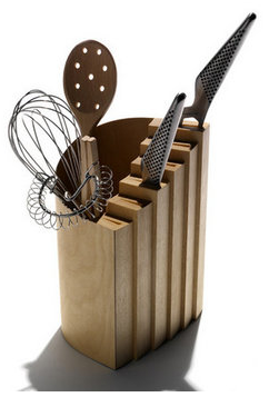 combination knife block and utensil holder