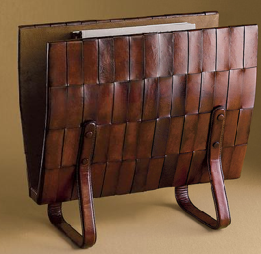 woven leather magazine rack