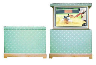 silk upholstered TV lift cabinet