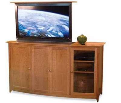 cherry tv lift cabinet