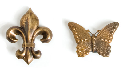 brass magnets - Fleur de Lis and butterfly