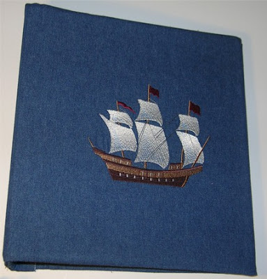 embroidered binder with ship