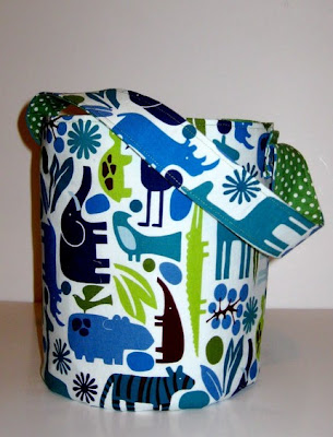 fabric storage bucket with animals