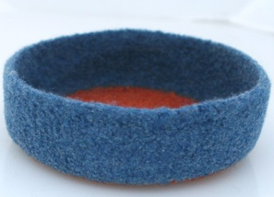 blue and orange felted bowl