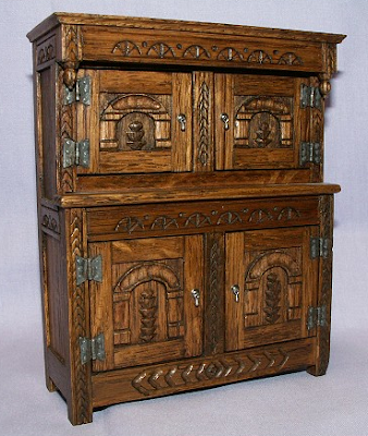 miniature dollhouse cupboard, oak, carved
