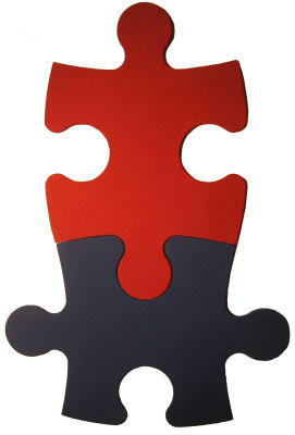 tackboards (bulletin boards) shaped like puzzle pieces