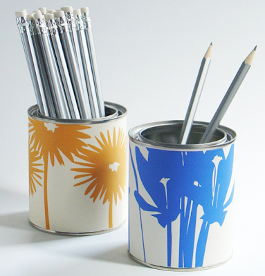 pretty floral pencil cups