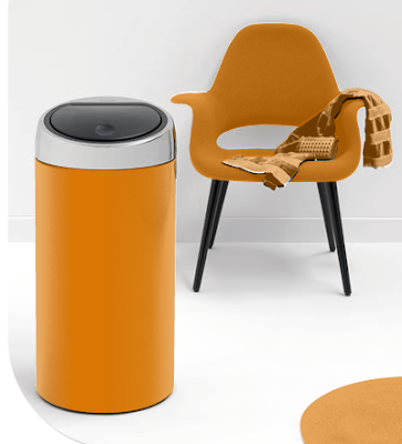orange waste bin