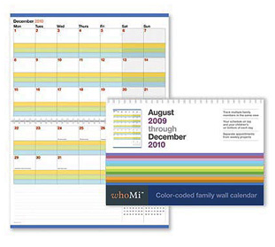 whoMi family wall calendar, color-coded